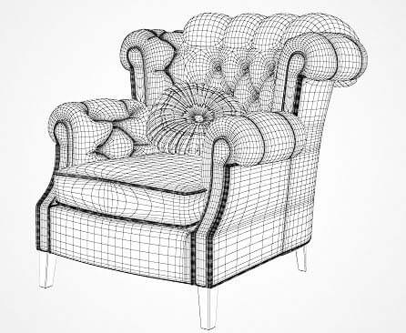 armchair drawing. classic armchair wire drawing