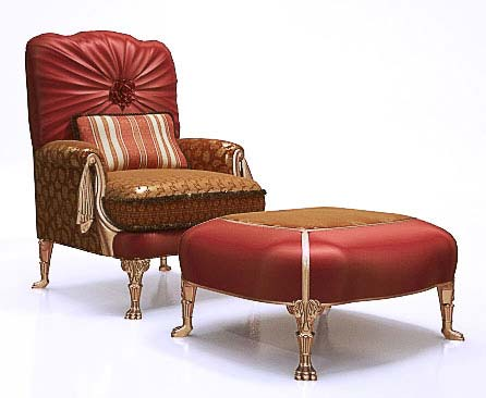 Classic Armchair with ottoman