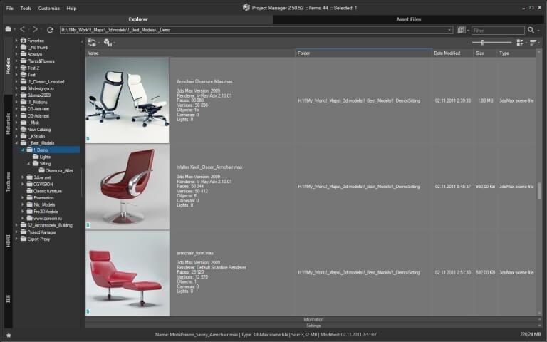 3D Models Explorer. Asset Browser for 3D Max.
