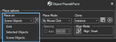 Place&Pains Settings - Place on options