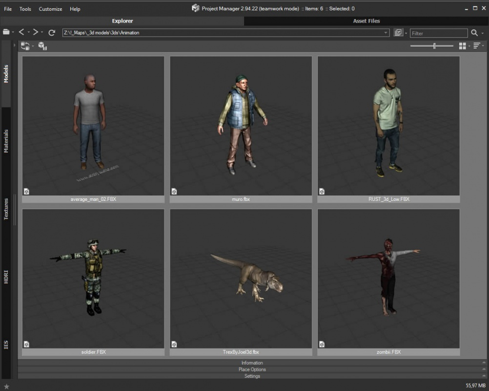 Support to additional formats of textures (such as .TGA and etc.) for interactively rendered 3D files