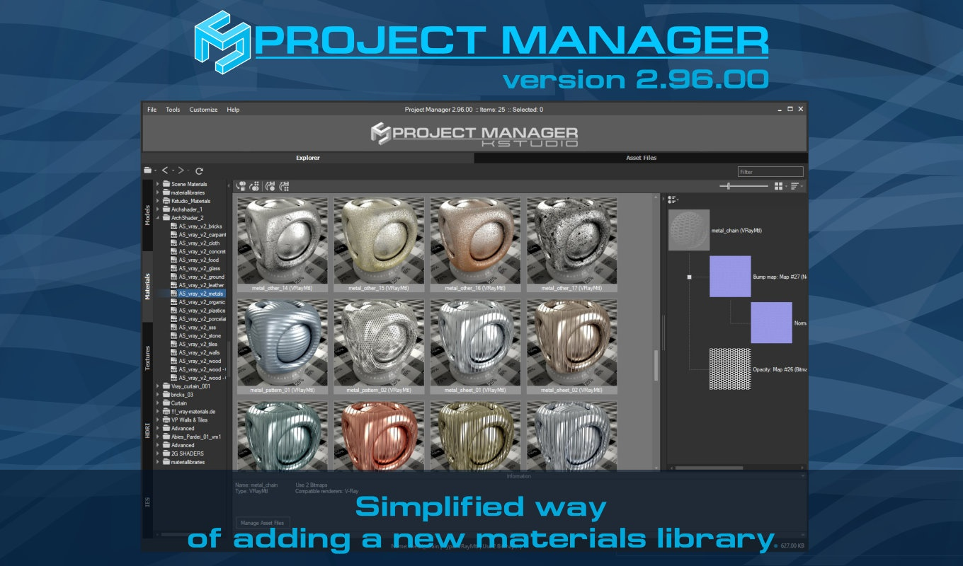 Project Manager version 2.96.00 - Simplified way of adding a new materials library