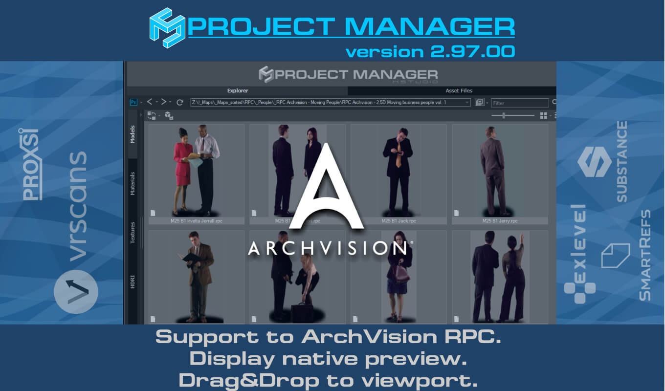 Support to ArchVision RPC. Display native preview. Drag&Drop to viewport