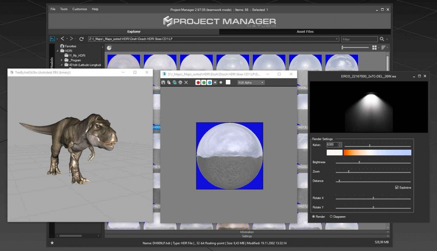 Project Manager v 2.97 - Adds an ability to use the Spacebar for viewing preview for bitmaps and materials, 3D models or IES in the separate window