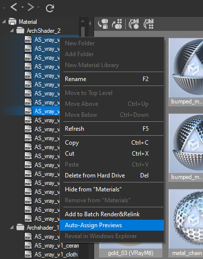 Auto-assign previews to materials in selected material libraries.