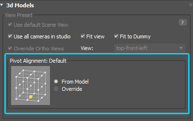 Setup pivot point on rendering preview for models