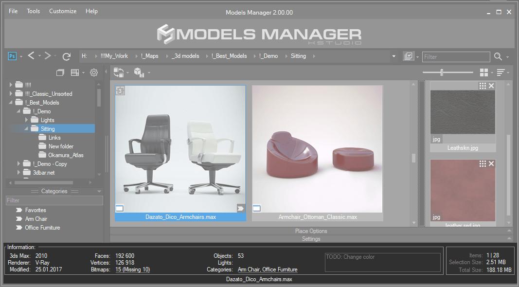 Models Manager - 3D Models. Status Bar