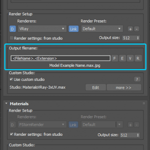 Specify output file names when rendering preview for 3d models