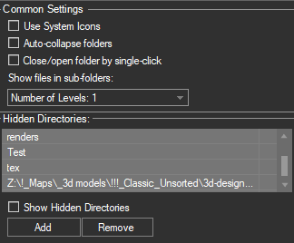 TreeView Settings - Hidden Directories