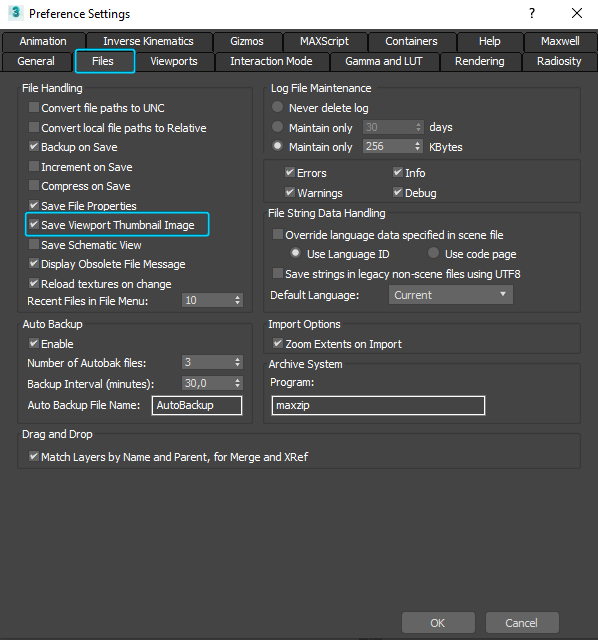 3ds Max Preference Settings